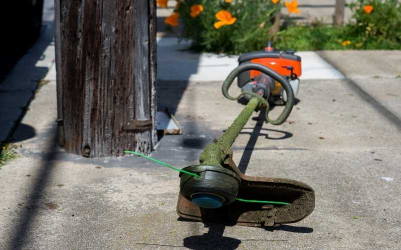 weed trimmer with a looped handle