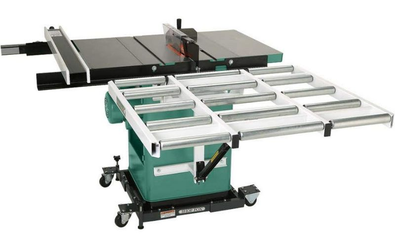 outfeed roller system cabinet table saw accessory