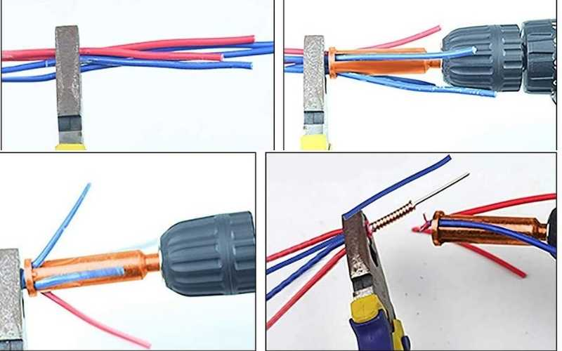 strip and twist wires with cordless drill