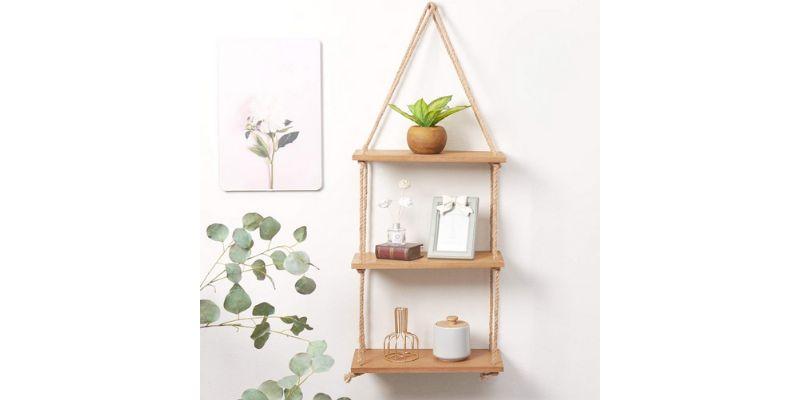 3 step scrap wood rope hanging shelf