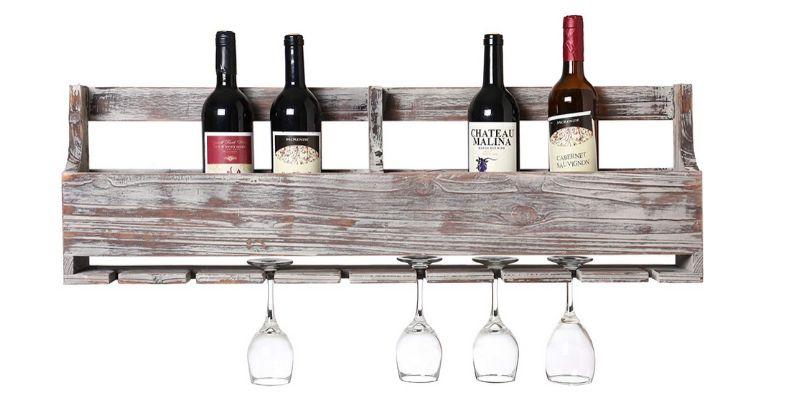 distressed scrap wood wine rack
