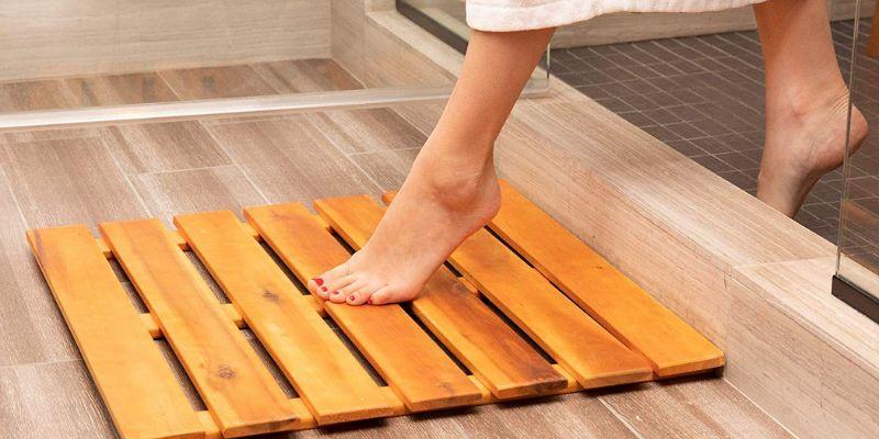 scrap wood door and bath mat