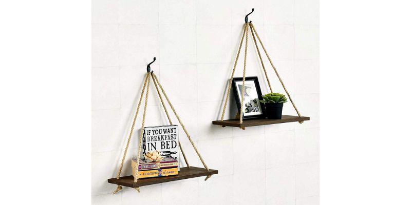 scrap wood rope hanging shelf