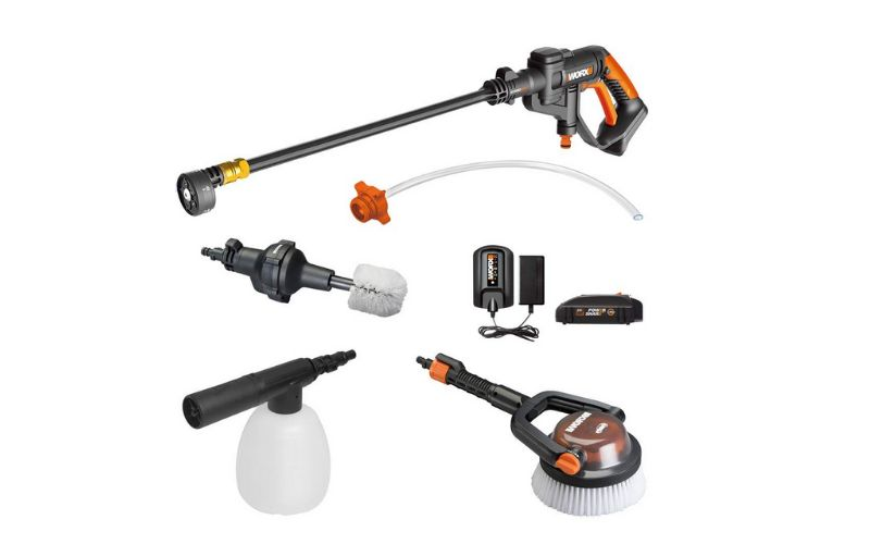 Worx WG625.4 hydroshot cleaner with washing accessories